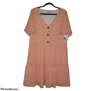 EVRI Plus Size Flowy Dress with Cute Brown Buttons